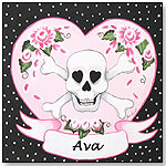 Girl's Pirate Skull Name Plaque by SHERRI BLUM DESIGNS