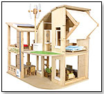 Green Dollhouse w/ Furniture by PLANTOYS