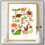 Animal Alphabet Screenprinted Poster by PETIT COLLAGE