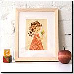 Pinwheel Girl - Print on Wood by PETIT COLLAGE
