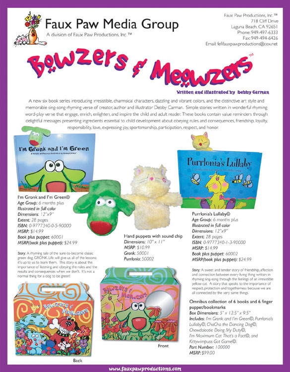 Bowzers and Meowzers Product Sheet by FAUX PAW PRODUCTIONS INC.