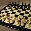 "3""3/4 French Classic Ebony on Black/Ash board Chess Set by WORLDWISE IMPORTS"