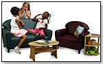 School-Age Vinyl Overstuffed Port Burgundy Chair by BRAND NEW WORLD