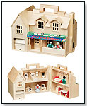 Deluxe Wooden Fold & Go Dollhouse by MELISSA & DOUG