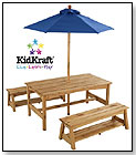 Table with Benches and Umbrella by KIDKRAFT