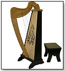 Zither Heaven 15-String Harp - Cherry/Black by ZITHER HEAVEN