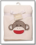Sock Monkey Appliqued Plush Blanket by RASHTI & RASHTI