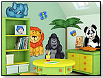 3D Wall Murals for Nursery and Kids Rooms  - Jungle Animals Set (Lion, Gorilla, Elephant, Panda) by COLORFUL CHILDHOOD LLC